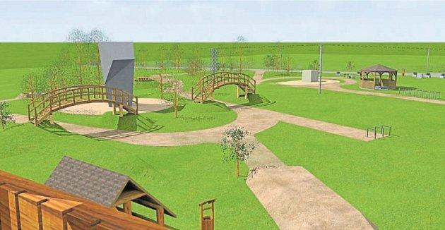Vizualizace, jak by měl vypadat nový Trial park pod hošťálkovickou rozhlednou.