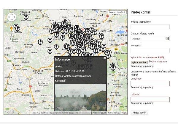 Mapa webové a mobilní aplikace Čistý komín.