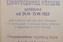 Titulní strana pamětní knihy věnované Lidovýchovné výstavě pořádané v roce Kulturní radou pro širší Ostravsko v roce 1923.