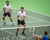 Utkání kvalifikace tenisového Davisova poháru - čtyřhra: Česká Republika - Nizozemsko, 2. února 2019 v Ostravě. Na snímku (vlevo) Julien Rojer a Robin Haase.