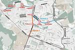 Z původních čtyř a následně dvou variant zbyla už jen jedna. Vedla by od Slovanu ulicí 17. listopadu k Duze  a po Průběžné ulici dále ke Globusu.