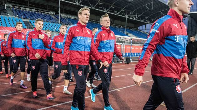 Hráči české fotbalové reprezentace na Městském stadionu v Ostravě-Vítkovicích. Ilustrační foto.