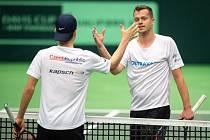 Trénink českých tenistů před Davis Cupem.