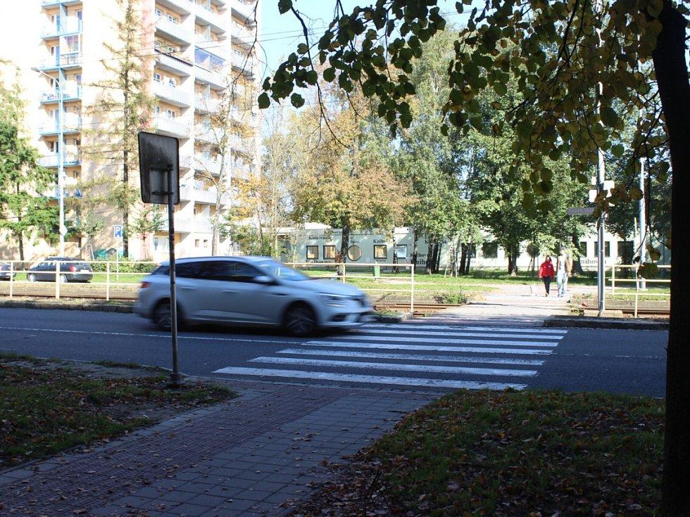 Nebezpečný přechod v Ostravě-Porubě.