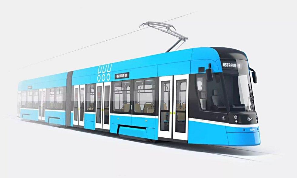 Toto je vizualizace tramvaje Škoda ForCity Smart pro Ostravu.
