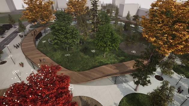 Vizualizace porubské stezky v korunách stromů.