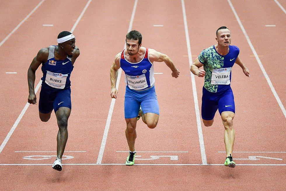Mezinárodní halový atletický mítink Czech Indoor Gala 2020, 5. února 2020 v Ostravě. Běh 60m muži, (zleva) Mario Burke z Barbadosu, Zdeněk Stromšík z Česka a Jan Veleba z Česka.