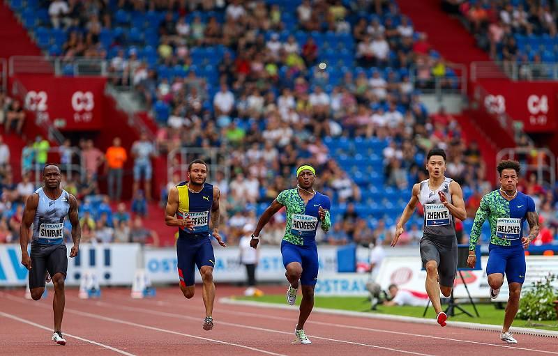Atletický mítink IAAF World Challenge Zlatá tretra v Ostravě 20. června 2019. Na snímku běh na 100m a vítěz Mike Rodgers z (USA).