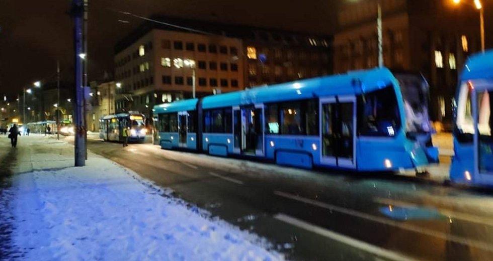 Srážka tramvají v Ostravě.