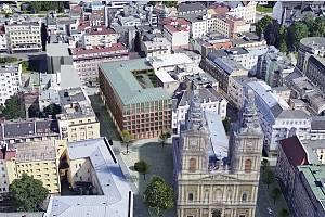 Parkovací dům. Vítězný návrh. Letecký pohled přes náměstí Msgr. Šrámka. Vizualizace.