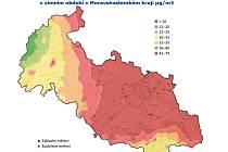 Odhad průměrných koncentrací PM10 v zimním období v Moravskoslezském kraji µg/m3.