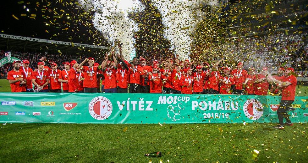 Finále fotbalového poháru MOL Cupu, Baník Ostrava - Slavia Praha 22.května 2019 v Olomouci. Na snímku Na snímku Slavia Praha.