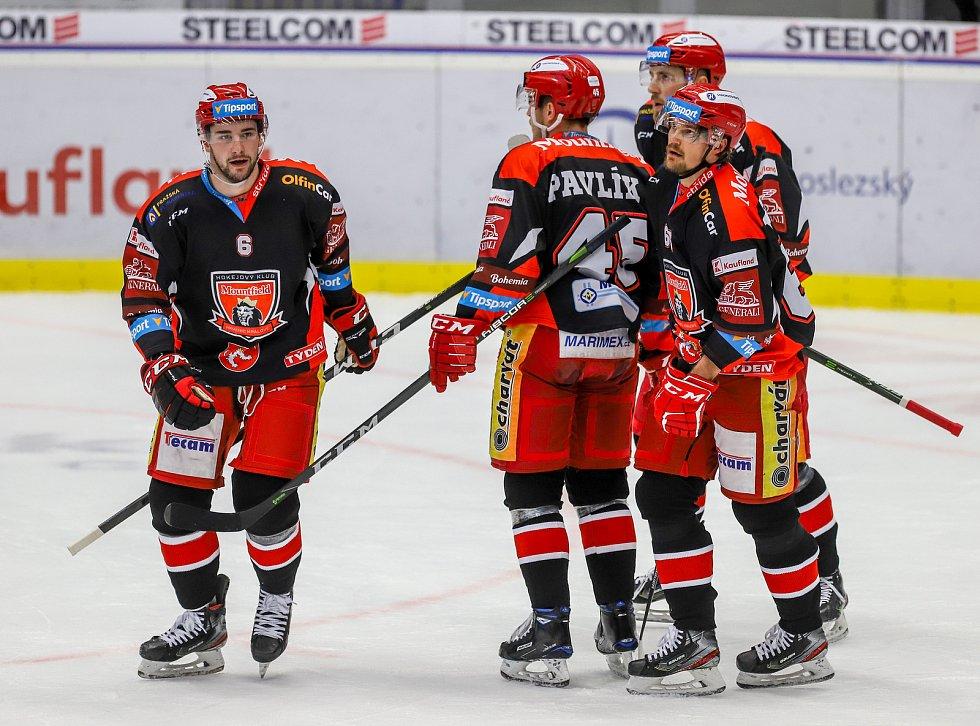 Utkání 39. kola hokejové extraligy: HC Vítkovice Ridera - Mountfield Hradec Králové, 24. ledna 2020 v Ostravě. Na snímku (vlevo) Lukáš Cingel.