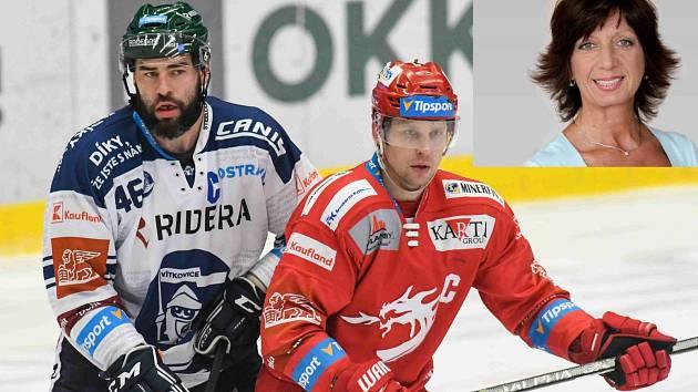 Kapitán hokejistů Třince Petr Vrána (vpravo) při derby s Vítkovicemi. Ve výřezu psycholožka Zdeňka Sládečková.