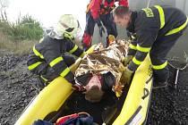 Dvě vozidla hasičů ze stanice v Zábřehu v pondělí ráno vyrazila plně vybavená gumovým člunem a záchrannými saněmi ke svinovskému rybníku Rojek. Cvičili tady záchranu tonoucího.