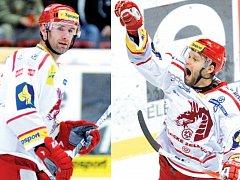 Zranění třineckých opor Radka Bonka (vlevo) a Martina Růžičky, kteří nedohráli nedělní zápas v Litvínově, nejsou vážná.