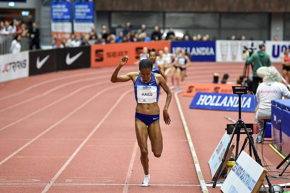 Mezinárodní halový atletický mítink Czech Indoor Gala 2020, 5. února 2020 v Ostravě. Běh 1500m ženy Lemlem Hailu z Ethiopie.