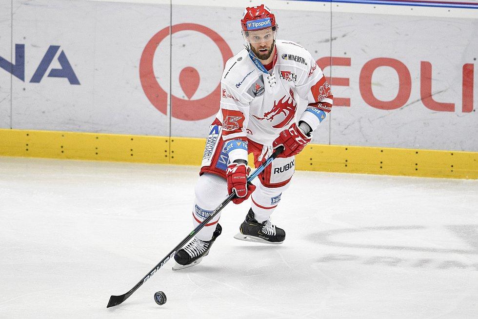 Utkání 16. kola hokejové extraligy: HC Vítkovice Ridera - HC Oceláři Třinec, 15. února 2021 v Ostravě. Martin Růžička z Třince.