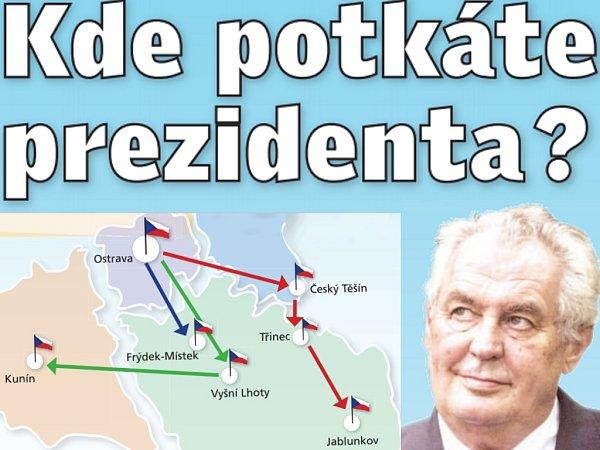 Ostrava a Frýdek-Místek. To jsou města, kam se během prvního dne návštěvy Moravskoslezského kraje podívá prezident Miloš Zeman.