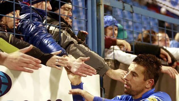 Milan Baroš s fanoušky Baníku.