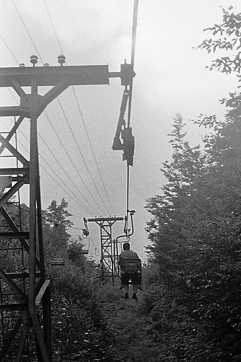 Lanovka na Trojanovic na Pustevny v roce 1957.