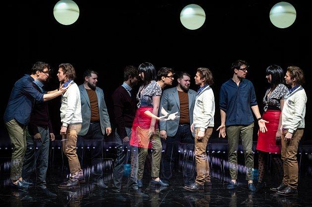 (Multiexpozice) zkouška inscenace Opilí 14.března 2019vOstravě. Premiéru uvede Národní divadlo moravskoslezské (NDM) 16.března na komorní scéně Divadla '12'.