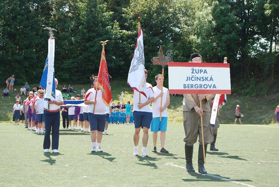 Župní sokolský slet, který uspořádala Sokolská župa Jičínska-Bergerova v sobotu 26. května 2018 v Jičíně. Ilustrační foto.