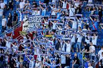 Utkání 4. kola nadstavby první fotbalové ligy, skupina o titul: Baník Ostrava - FC Viktoria Plzeň, 5. července 2020 v Ostravě. Fanoušci Baníku Ostrava.