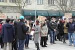 Studentská demonstrace v centru Ostravy.