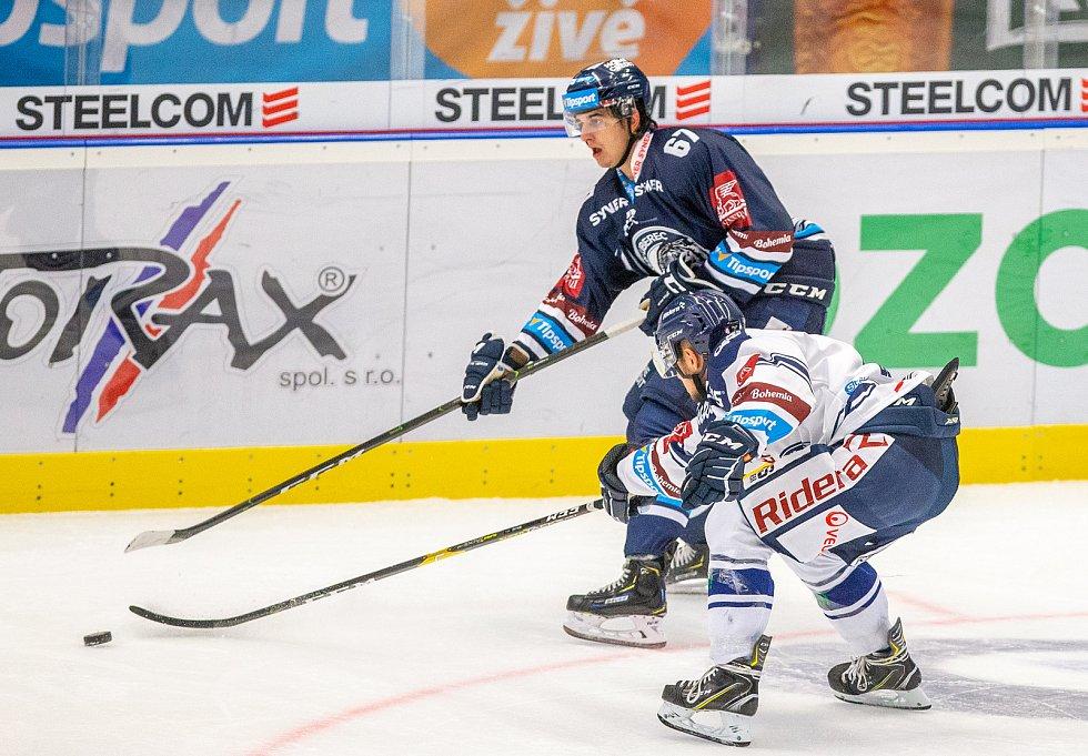 Utkání 3. kola hokejové extraligy: HC Vítkovice Ridera - Bílí Tygři Liberec, 20. září 2019 v Ostravě. Zleva Zleva Tomáš Hanousek z Liberce.