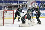 Utkání 51. kola hokejové extraligy: HC Vítkovice Ridera - HC Energie Karlovy Vary, 3. března 2020 v Ostravě. Střed brankář Karlových Varů Jan Bednář.