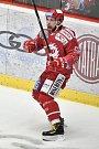 Utkání 9. kola hokejové extraligy: HC Oceláři Třinec - HC Sparta Praha, 12. října 2018 v Třinci. Na snímku radost Roberts Bukarts.