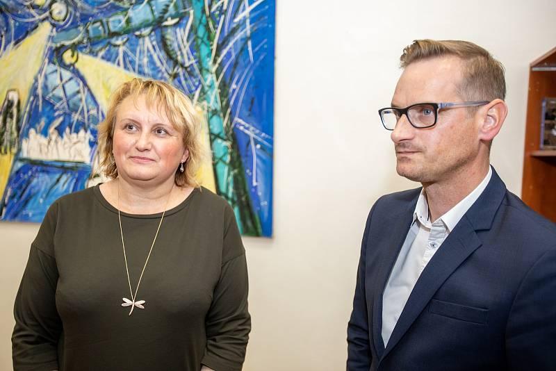 Volební štáb strany SPOLU, 9. října 2021 v Ostravě. Pavla Golasowská a Jakub Janda.