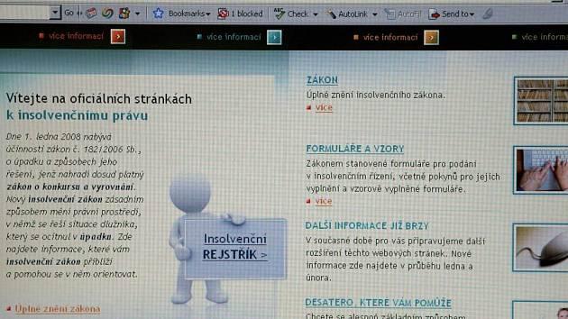 Webové stránky, na kterých je možno najít údaje o dlužnících