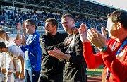 FC Baník Ostrava – SK Slavia Praha, radost, oslava, výhra, v černém Milan Baroš s Janem Laštůvkou