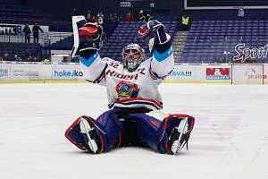 Utkání 34. kola hokejové extraligy: HC Vítkovice Ridera - HC Oceláři Třinec, 12. ledna 2019 v Ostravě. Na snímku brankář Vítkovic Patrik Bartošák.