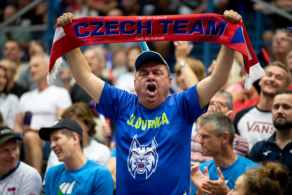Utkání mistrovství Evropy volejbalistů - osmifinále: ČR - Francie, 13. září 2021 v Ostravě. Fanoušek.