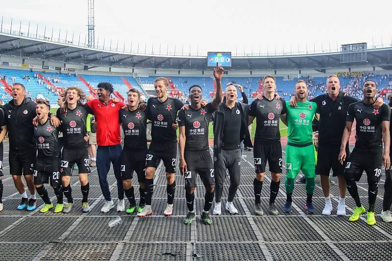 Utkání 4. kola nadstavby první fotbalové ligy, skupina o titul: FC Baník Ostrava - SK Slavia Praha, 19. května 2019 v Ostravě. Na snímku radost Slavie.