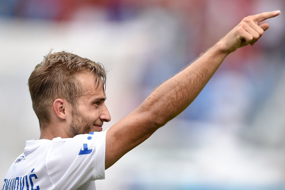 Utkání 5. kola první fotbalové ligy: FC Baník Ostrava - Bohemians 1905 , 10. srpna 2019 v Ostravě. Na snímku Nemanja Kuzmanovič.
