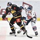 26. kolo hokejové extraligy: HC Vítkovice Ridera - HC litvínov, 9. prosince 2018 v Ostravě. Na snímku (zleva) Garhát František a Rostislav Olesz.