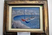 Obraz Jana Zrzavého Loďky v zátoce, který byl vydražen při aukci v ostravském hotelu Brioni