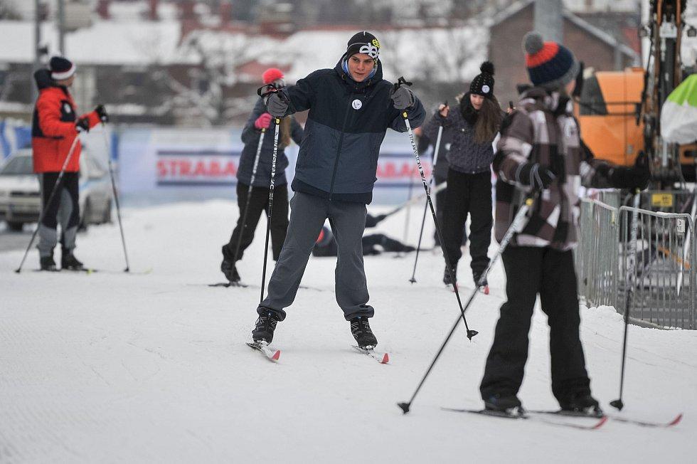 Olympijský festival u Ostravar Arény, 9. února 2018 v Ostravě. Běžky