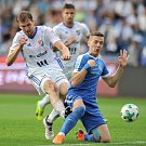 Utkání 28. kolo první fotbalové ligy FC Baník Ostrava - FC Sloban Liberec, 12. května v Ostravě. Tomáš Poznar a Karafiát Ondřej.