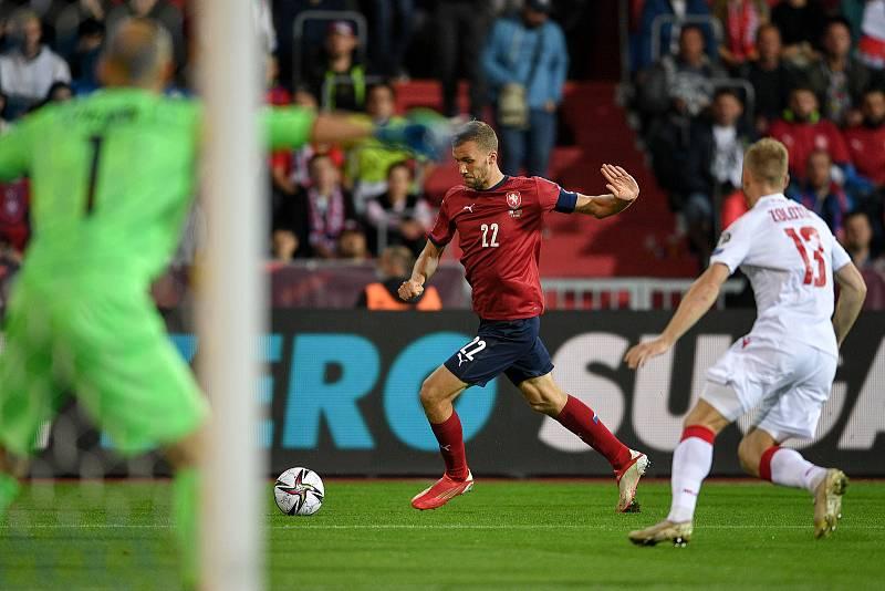 Utkání skupiny E kvalifikace mistrovství světa ve fotbale: Česko - Bělorusko, 2. září 2021 V Ostravě. (střed) Tomáš Souček z ČR.