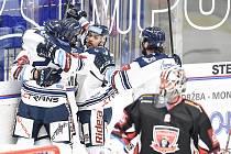 Utkání 13. kola hokejové extraligy: HC Vítkovice Ridera - Mountfield Hradec Králové, 25. října 2019 v Ostravě. Na snímku radost Vítkovic.