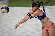 Turnaj Světového okruhu v plážovém volejbalu, 21. června 2018 v Ostravě. Na snímku Barbora Hermannová.
