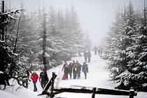 Zimní výstup na Lysou horu v Beskydech. 7. února 2021.