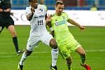 FC Baník Ostrava – MFK Karviná, vlevo Dame Diop, vpravo Jan Moravec