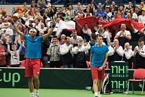 V sobotu nastoupili čeští tenisté Jiří Veselý s Adamem Pavláskem (na snímku) proti australské dvojici Lleyton Hewitt a Samuel Groth.
