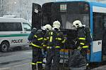 Požár autobusu v Ostravě
